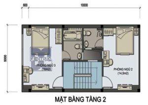 thiết kế nhà ống 2 tầng 50 m2