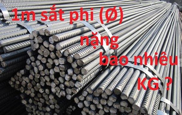 1m sắt phi 8 nặng bao nhiêu kg