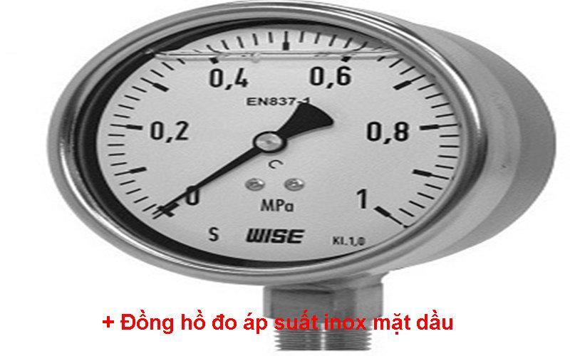 Đồng hồ đo áp suất inox mặt dầu